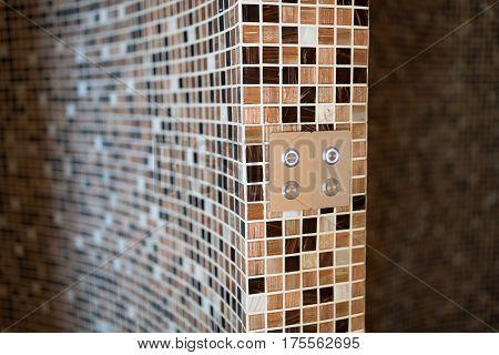 Modern Steam Bath With Mosaic Tiles