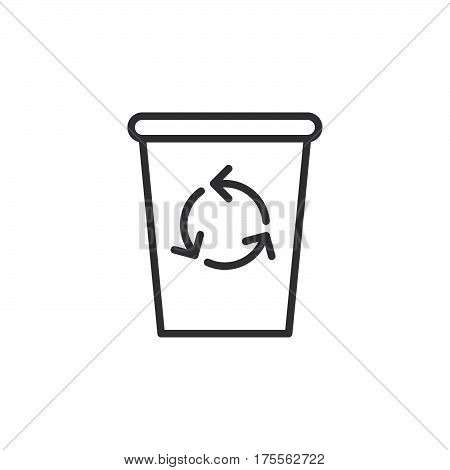 Recycle Bin line icon outline vector sign linear style pictogram isolated on white. Delete symbol logo illustration. Editable stroke. Pixel perfect