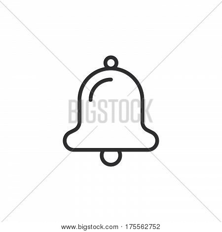 Bell line icon outline vector sign linear style pictogram isolated on white. Alarm notification symbol logo illustration. Editable stroke. Pixel perfect