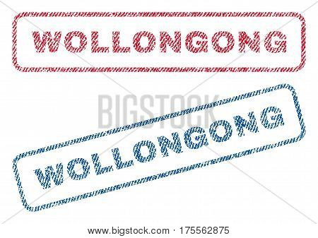 Wollongong text textile seal stamp watermarks. Blue, red fabric vectorized texture. Vector tag inside rounded rectangular shape. Rubber emblem with fiber textile structure.