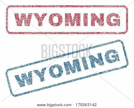 Wyoming text textile seal stamp watermarks. Blue, red fabric vectorized texture. Vector tag inside rounded rectangular banner. Rubber emblem with fiber textile structure.