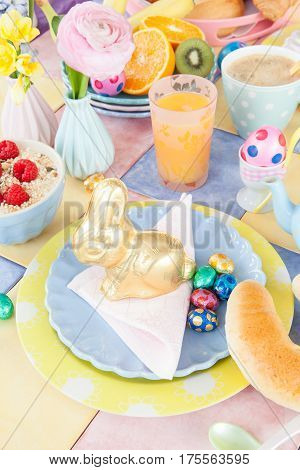 Cheerful table setting for a healthy easter breakfast