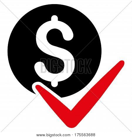 Accept Payment vector pictograph. Illustration style is a flat iconic bicolor intensive red and black symbol on white background.