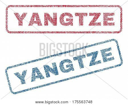 Yangtze text textile seal stamp watermarks. Blue, red fabric vectorized texture. Vector caption inside rounded rectangular banner. Rubber sticker with fiber textile structure.