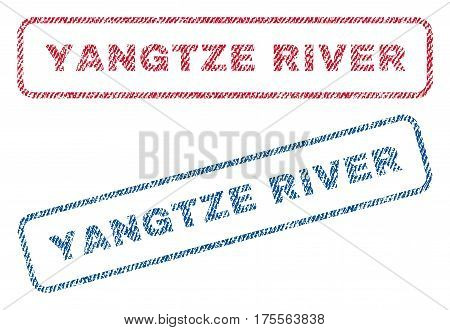 Yangtze River text textile seal stamp watermarks. Blue, red fabric vectorized texture. Vector caption inside rounded rectangular shape. Rubber sticker with fiber textile structure.