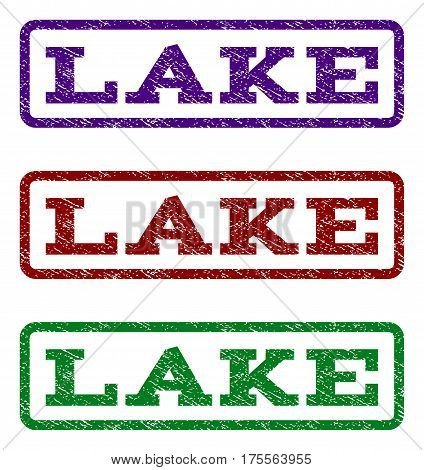 Lake watermark stamp. Text tag inside rounded rectangle frame with grunge design style. Vector variants are indigo blue, red, green ink colors. Rubber seal stamp with scratched texture.