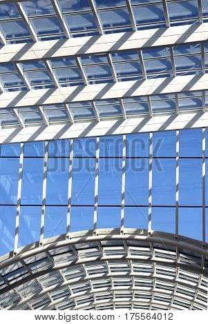 Glass ceiling modern architecture details vertical image