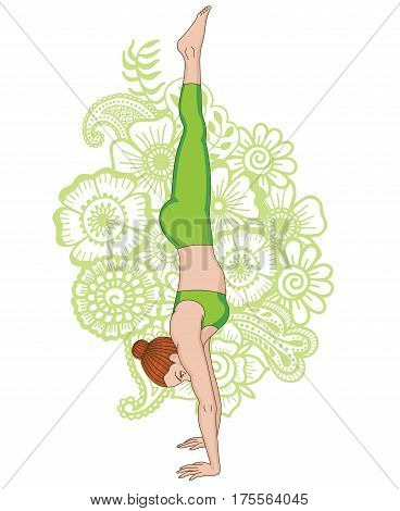 Women silhouette on paisley mehndi ormanent background. Headstand yoga pose. Adho Mukha vrksasana.Vector illustration