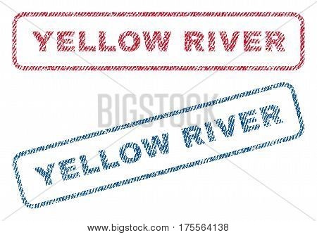 Yellow River text textile seal stamp watermarks. Blue, red fabric vectorized texture. Vector tag inside rounded rectangular banner. Rubber sign with fiber textile structure.