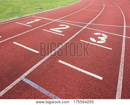 Number One And Number Two, Red Rubber Running Racetrack