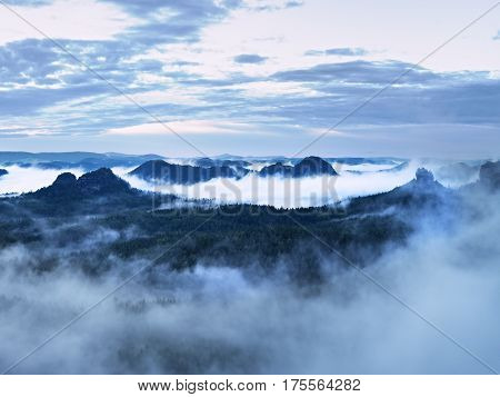 Blue  Mist In Mountains. Summer Forest After Heavy Rainy Night