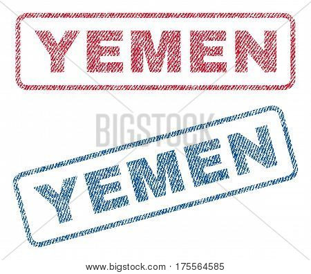 Yemen text textile seal stamp watermarks. Blue, red fabric vectorized texture. Vector caption inside rounded rectangular shape. Rubber emblem with fiber textile structure.
