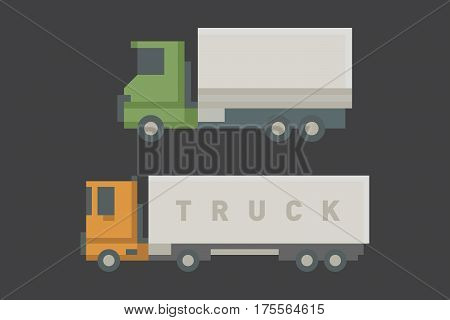 Trucks icons set vector shipping cars vehicles cargo transportation by road. Delivery vehicle rail with forklifts. Flat style icons trailer lorry traffic illustration.