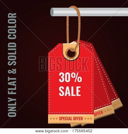 Special sale or discount offer tag banner. Solid and Flat color style design vector