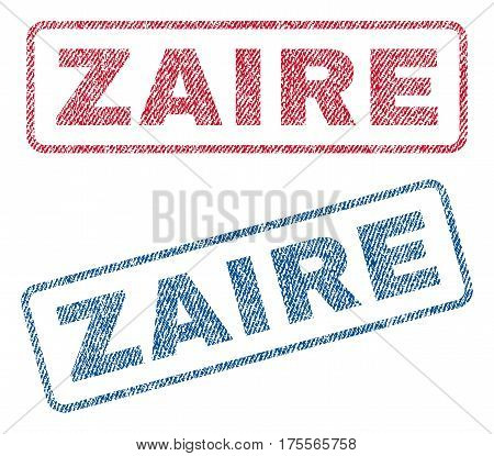 Zaire text textile seal stamp watermarks. Blue, red fabric vectorized texture. Vector tag inside rounded rectangular shape. Rubber sticker with fiber textile structure.