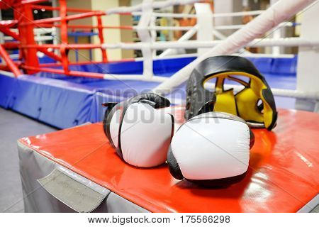 Boxing gloves and helmet
