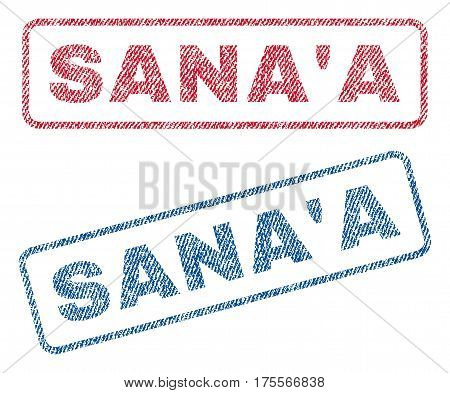 Sana'A text textile seal stamp watermarks. Blue, red fabric vectorized texture. Vector tag inside rounded rectangular banner. Rubber sticker with fiber textile structure.