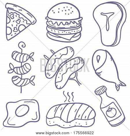 Doodle of food various vector art collection stock