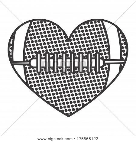 grayscale background of heart with texture of football ball vector illustration