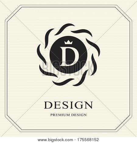Abstract Monogram round template. Modern elegant luxury logo design. Letter emblem D crown. Mark of distinction. Fashion universal label for Royalty company business card badge. Vector illustration