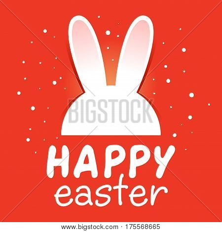 Vector stock of Easter greetings with white rabbit ear on a red background