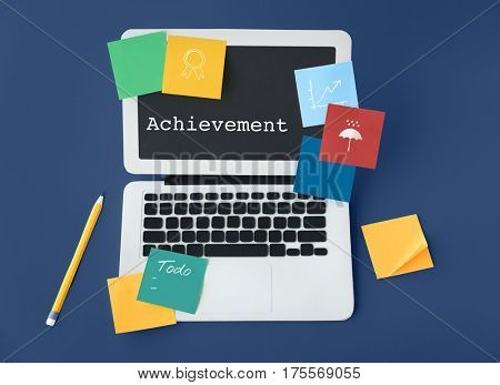 Achievement success development word concept