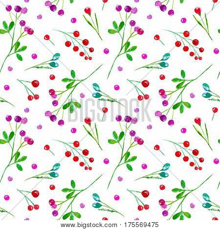 Floral seamless pattern of a berry. Cranberry, bilberry, cowberry. Watercolor hand drawn illustration.White background.
