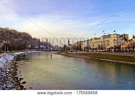 Salzach River in the center of Salzburg, Austria