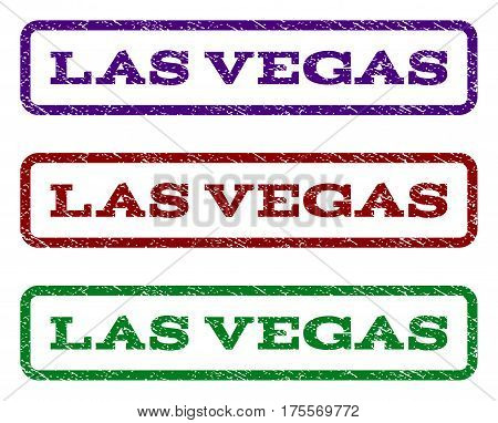Las Vegas watermark stamp. Text tag inside rounded rectangle frame with grunge design style. Vector variants are indigo blue, red, green ink colors. Rubber seal stamp with scratched texture.