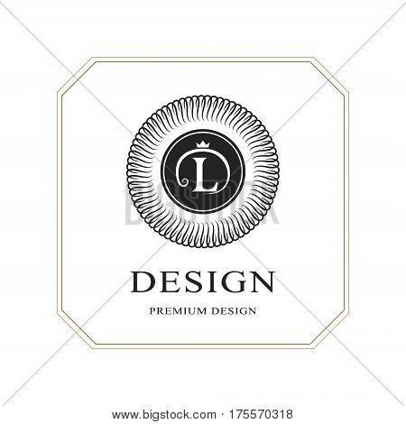 Abstract Monogram round template. Modern elegant luxury logo design. Letter emblem L crown. Mark of distinction. Fashion universal label for Royalty company business card badge. Vector illustration