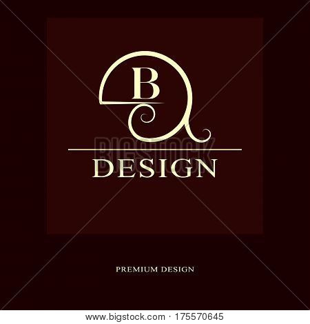 Abstract logo design. Modern luxury monogram. Minimum elements. Letter emblem B. Mark of distinction. Universal round template. Fashion label for Royalty company business card. Vector illustration