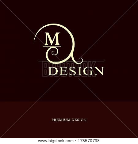 Abstract logo design. Modern luxury monogram. Minimum elements. Letter emblem M. Mark of distinction. Universal round template. Fashion label for Royalty company business card. Vector illustration