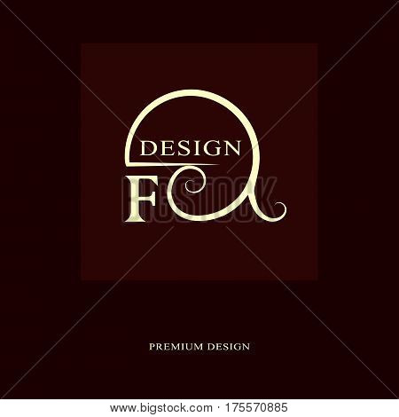 Abstract logo design. Modern luxury monogram. Minimum elements. Letter emblem F. Mark of distinction. Universal round template. Fashion label for Royalty company business card. Vector illustration