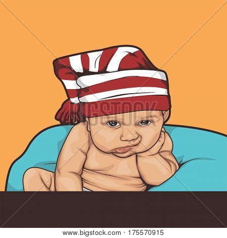 illustration of bored kids sitting on the couch with stripes hat. Good for meme too
