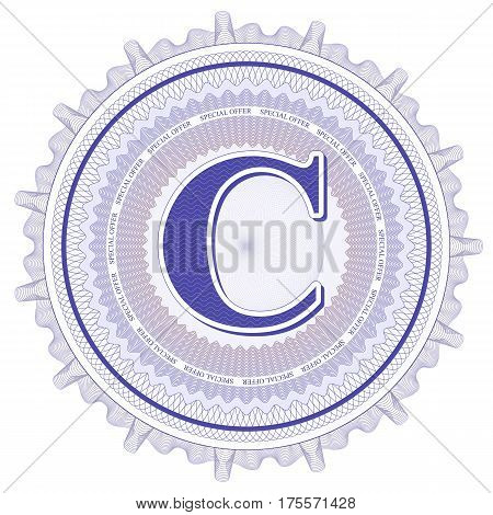 Vector Guilloche Pattern Rosette and border with letter C. Monetary banknote background print. Abstract guilloche letter design.