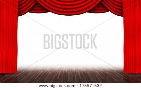 empty stage with white background and red curtain. 3d illustration