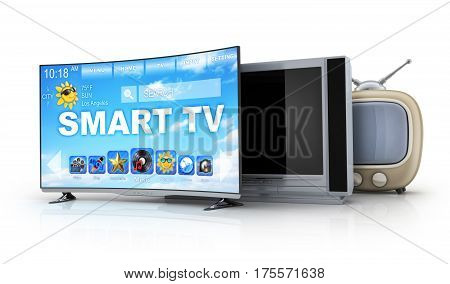 Three TV evolution on white background. Old and modern. 3d illustration