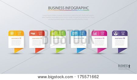 Infographic tab design vector and marketing template business. Can be used for workflow layout diagram annual report web design. Business concept with 6 options steps or processes.