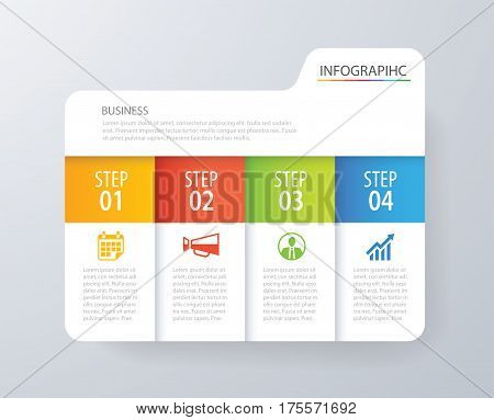 Infographic tab index design vector and marketing template business. Can be used for workflow layout diagram annual report web design. Business concept with 4 options steps or processes.