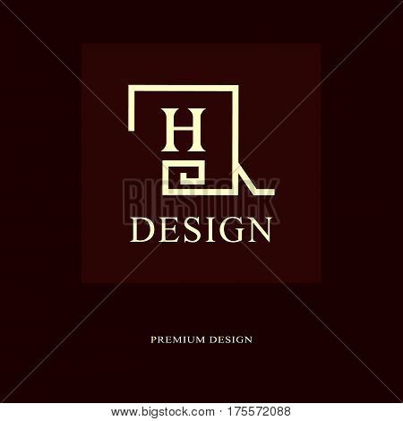 Abstract logo design. Modern luxury monogram. Minimum elements. Letter emblem H. Mark of distinction. Universal square template. Fashion label for Royalty company business card. Vector illustration