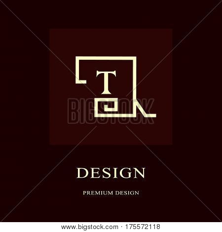 Abstract logo design. Modern luxury monogram. Minimum elements. Letter emblem T. Mark of distinction. Universal round template. Fashion label for Royalty company business card. Vector illustration