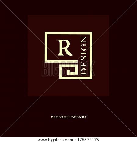 Abstract logo design. Modern luxury monogram. Minimum elements. Letter emblem R. Mark of distinction. Universal round template. Fashion label for Royalty company business card. Vector illustration