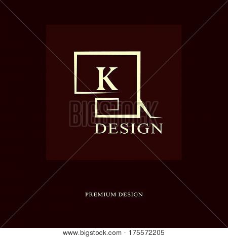 Abstract logo design. Modern luxury monogram. Minimum elements. Letter emblem K. Mark of distinction. Universal round template. Fashion label for Royalty company business card. Vector illustration