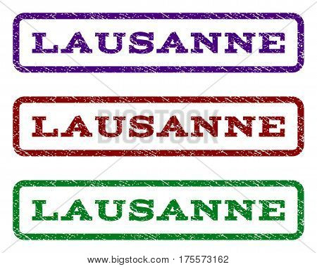 Lausanne watermark stamp. Text caption inside rounded rectangle with grunge design style. Vector variants are indigo blue, red, green ink colors. Rubber seal stamp with dirty texture.