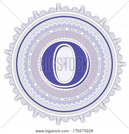 Vector Guilloche Pattern Rosette and border with letter O. Monetary banknote background print. Abstract guilloche letter design.