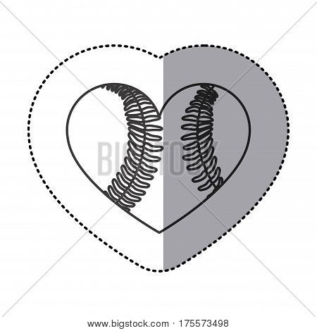 grayscale sticker of heart with texture of baseball ball vector illustration