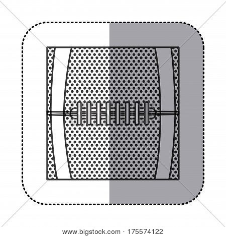 square sticker in grayscale background with football ball texture vector illustration