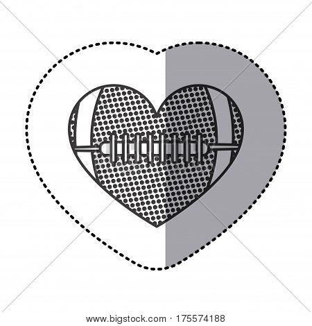 grayscale sticker of heart with texture of football ball vector illustration