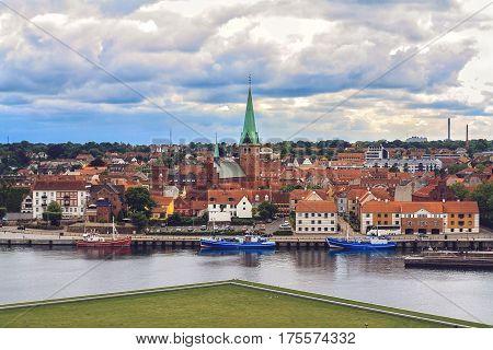 HELSINGOR DENMARK 14 JUNE: Top view of seaport of Helsingor city and Saint Olaf church from Cronborg castle Denmark in 2012