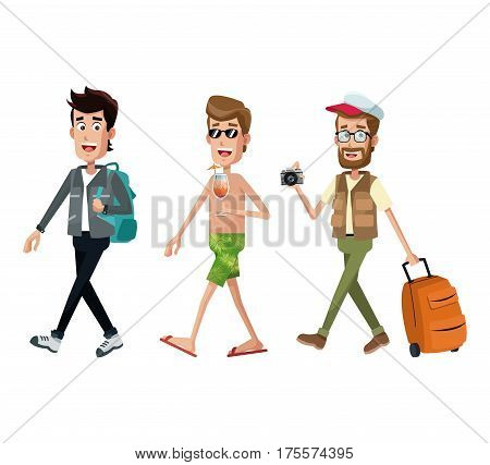 group men traveler toruist vector illustration eps 10